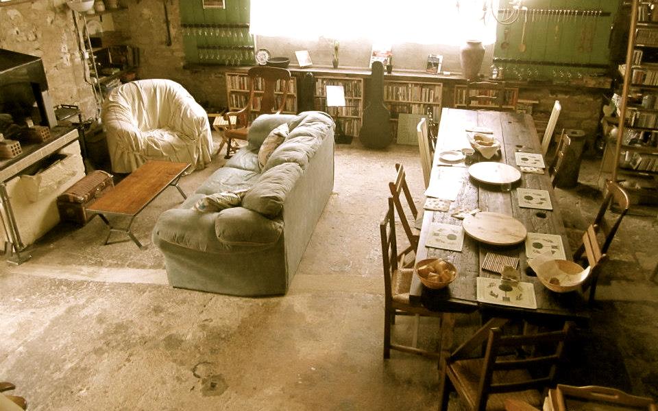 Dining room set for dinner at la Maison de Rafah in Burgundy, France.