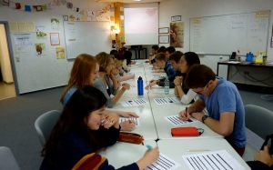 Juniors compile biographical information for college essays with a genial round of speed dating!