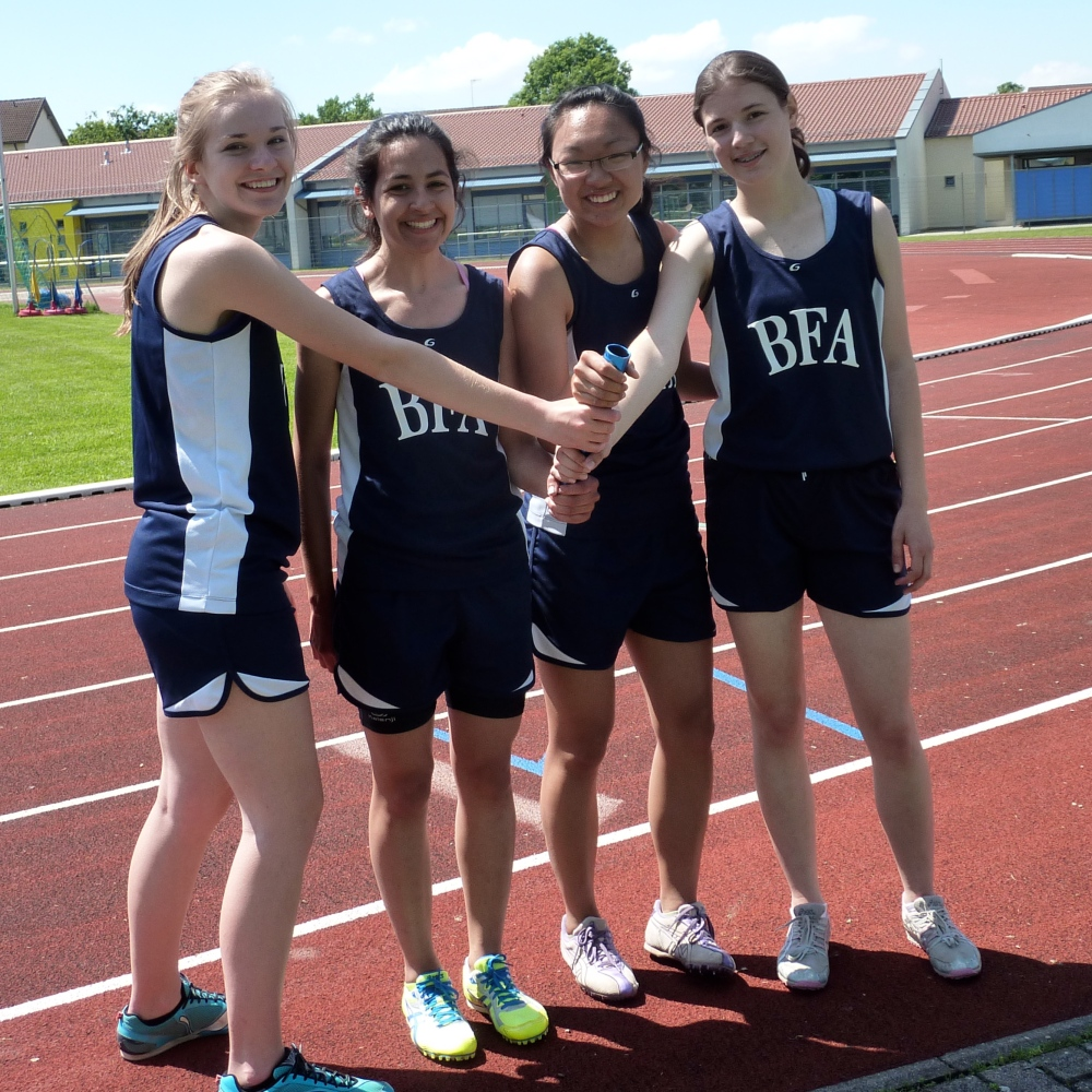 The Girls' Spring Medley relay team, after qualifying for the European Championships.