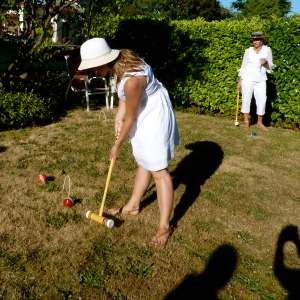 "At a ""garden party croquet shower"" thrown by ladies in my church. Another unexpected delight!"