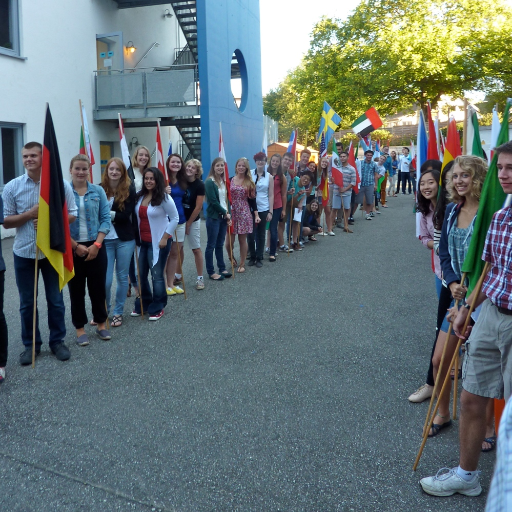 The Class of 2014 lines up for their long-awaited flag processional on the first day of school.