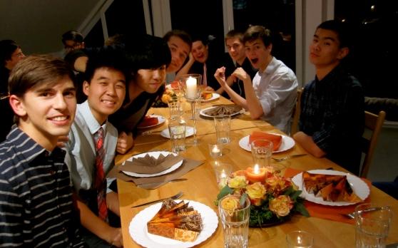 Men of Maugenhard celebrate dorm Thanksgiving, on November 10.