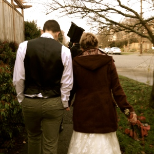 Walking together on our wedding day. Photo: Emily Kelly