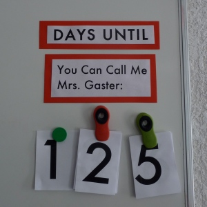The classroom countdown, back in September.