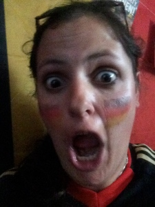 Lexi dons jersey and flag face paint to cheer for Germany vs. Ghana