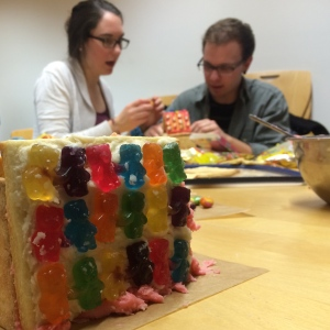 Working on sugar cookie houses for our small group Valentine's Day party.