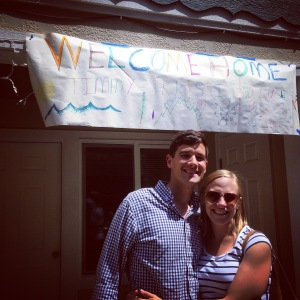 Our Welcome Home sign at our home for the year, courtesy of two adorable neighbor boys.