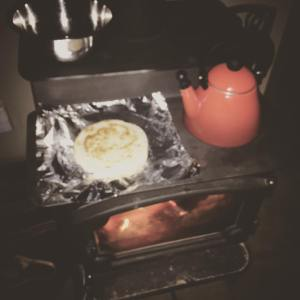 The top of the wood stove is perfect for making quesadillas!