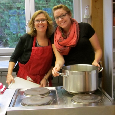 Maugenhard baking with Ceramics Teacher and Dorm Mom