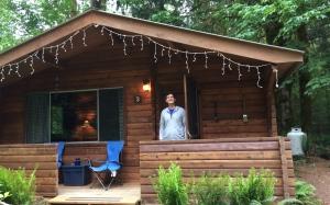 One of the former Alaythia Fellowship's cedar log cabins