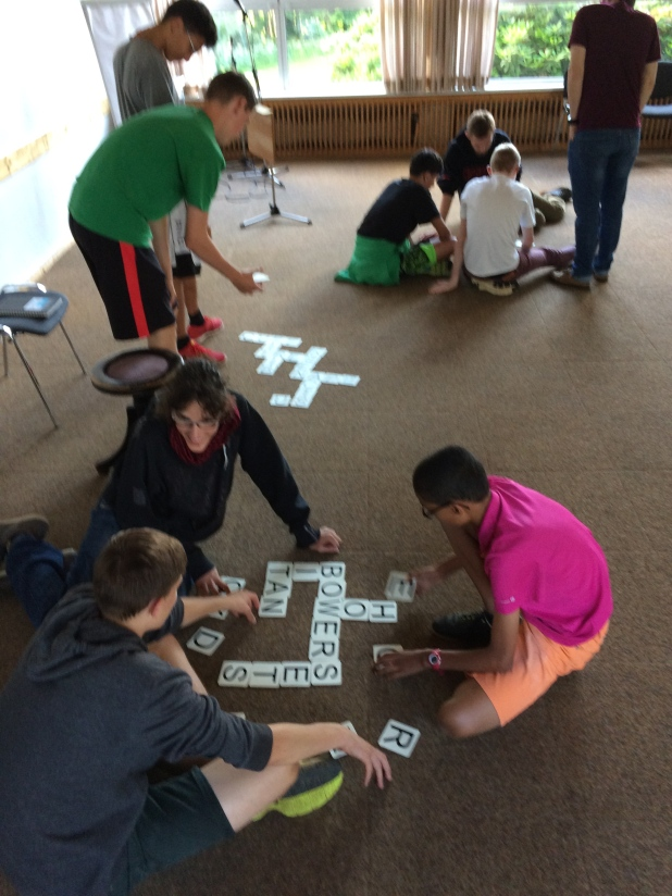 Playing Bananagrams at our conference in July!