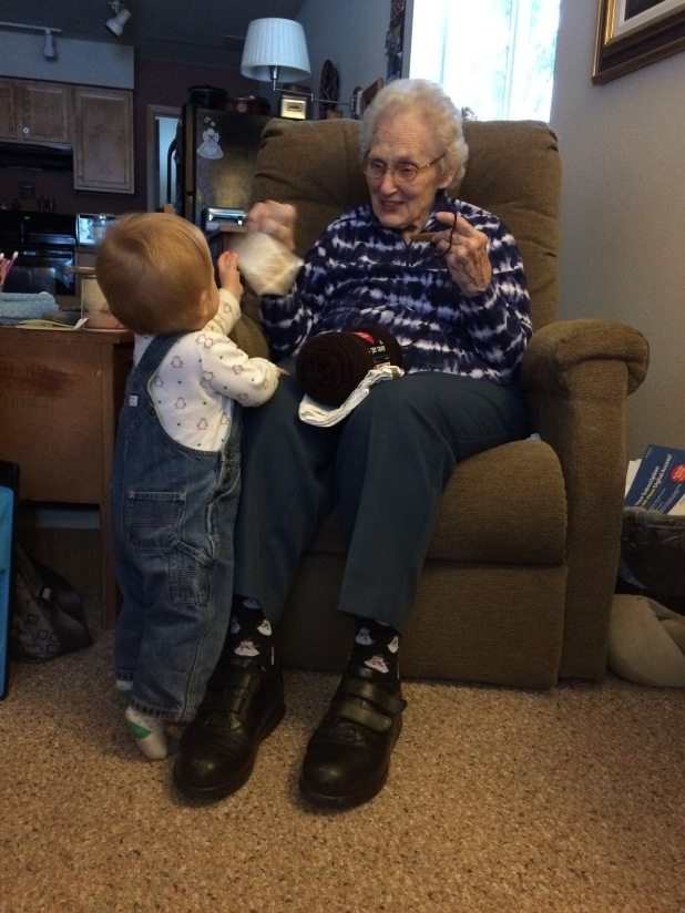 Luci enjoys some quality time with her Great-Grandma Ruth at the Pass chalet.