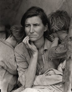 """Migrant Mother,"" 1936, Dorothea Lange Caption: ""Destitute pea pickers in California. Mother of seven children. Age thirty-two. Nipomo, California."""